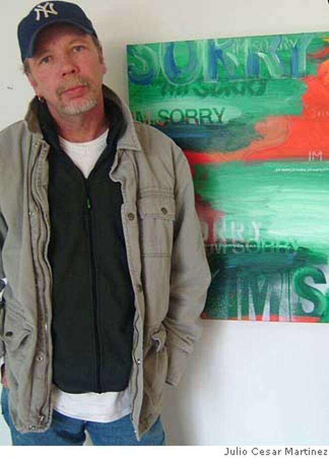 Photo of Tom Fowler. Painting is called Sorry and was taken earlier this year. Photo by Julio Cesar Martinez Photo: Julio Cesar Martinez