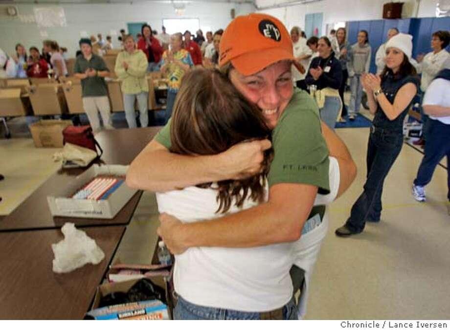 BLUESTAR21_016.jpg_  The Blue Star Moms are gathering at Wells Middle School in Dublin to pack up 1,000 holiday care packages to send to the troops. Co Chair of the event (back to camera) Patty Harris from San Ramon gives Martha Caires also from San Ram�n a hug as the group celebrated Caires son�s birthday. Jonathan Caires turned 23 today and is fighting in Iraq with the US Army Stryker Brigade /Special Operations unit. Blue Star Moms are a support group of mothers with children in combat. By Lance Iversen/San Francisco Chronicle MANDATORY CREDIT PHOTOG AND SAN FRANCISCO CHRONICLE. Metro#Metro#Chronicle#11/21/2004#ALL#5star##0422477184 Photo: Lance Iversen
