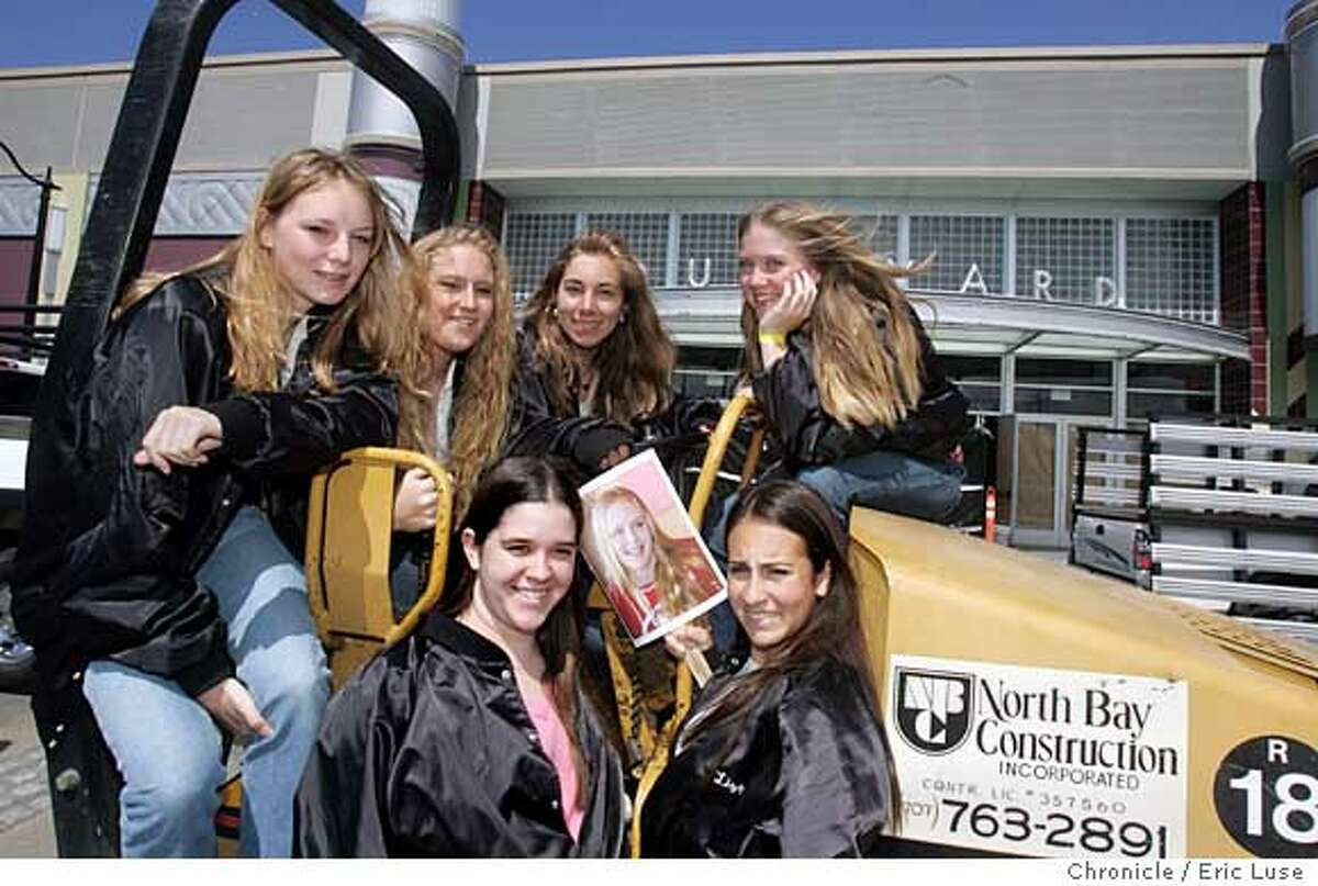 0021_superbseven16_el.JPG In front of the new theater still under construction the girls huddled atop a construction pavement roller. Front Row; Liza Hall,16 and Elizabeth Comstock,15. Back Row; Noelle Bisson,16, Sarah Marcia,16, Ashley Ditmer,16, and Taylor Norman,16. The photograph is of Madison Webb,16, who had moved ways but was a big part of the process. Seven teenage girls pressed local politicians, developers and movie theatre chains to build a theatre in downtown Petaluma, whose cinemas had been shut down. The new multiplex opens next week, with a ribbon cutting ceremony on Tuesday. Event on 5/16/05 in Petaluma. Eric Luse / The Chronicle Ran on: 05-17-2005 The Superb Seven: In the front row, Liza Hall, left, and Elizabeth Comstock. Behind them, No�lle Bisson, left, Sarah Marcia, Ashley Ditmer and Taylor Norman. The picture is of Madison Webb.