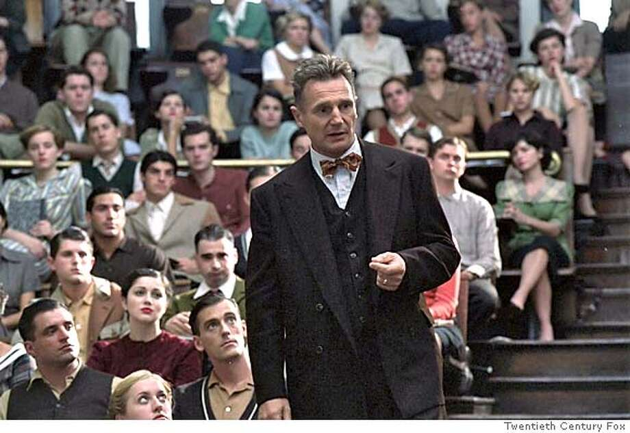 (NYT37) UNDATED -- NOVEMBER 8, 2004 -- NEESON-KINSEY-2 -- Liam Neeson as Alfred C. Kinsey during a lecture that resulted from his research on human sexuality at Indiana University, in the film �Kinsey.�� When Neeson was offered the chance to play Kinsey, � I didn�t have any hesitation,� he said in a recent interview.(Twentieth Century Fox via The New York Times) **ONLY FOR USE WITH STORY BY DINITIA SMITH SLUGGED: NEESON-KINSEY. ALL OTHER USE PROHIBITED. Ran on: 11-15-2004  Good bets: Jamie Foxx in &quo;Ray,&quo; Annette Bening in &quo;Being Julia&quo; and Leonardo DiCaprio in &quo;The Aviator.'' XNYZ, **ONLY FOR USE WITH STORY BY DINITIA SMITH SLUGGED: NEESON-KINSEY. ALL OTHER USE PROHIBITED. Datebook#Datebook#Chronicle#11/22/2004#ALL#Advance##0422457292 Photo: TWENTIETH CENTURY FOX