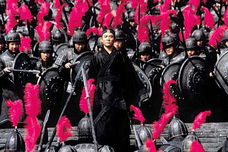 """A scene from the film """"Hero"""", about the violent dawn of the Qin dynasty and the first Emperor to be of China, is pictured in this undated publicity photograph. The film from the People's Republic of China, received an Academy Award nomination as best foreign language film, as nominations for the 75th annual Academy Awards were announced by the Academy of Motion Pictures Arts and Sciences in Beverly Hills February 11, 2003. The Academy Awards will be presented in Hollywood March 23, 2003. REUTERS/Miramax Films/Handout Photo: HO"""