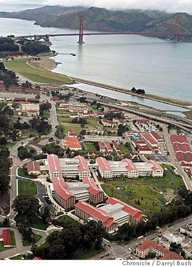 "presidio_136_db.jpg  Aerial view of George Lucas's new Lucasfilm headquarters; the complex called, ""Letterman Digital Arts Center at the Presidio,"" bottom center with the Golden Gate Bridge in the background, nears completion at the Presidio of San Francisco Golden Gate National Recreation Area. Event on 5/6/05 in San Francisco.  Darryl Bush / The Chronicle MANDATORY CREDIT FOR PHOTOG AND SF CHRONICLE/ -MAGS OUT Photo: Darryl Bush"