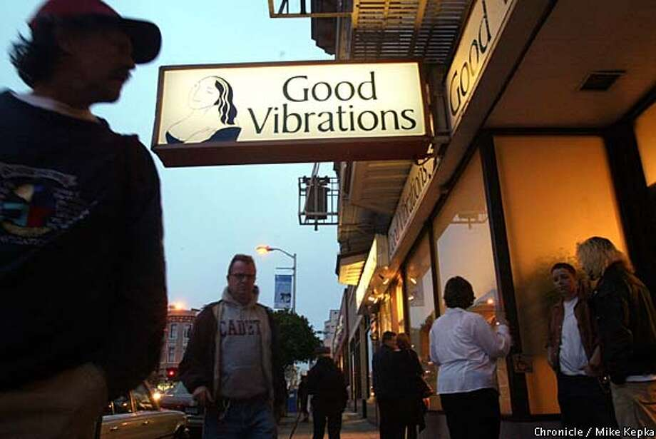 The newest Good Vibrations store on Polk Street is advertised with its signature inviting logo. BY MIKE KEPKA/THE CHRONICLE Photo: MIKE KEPKA