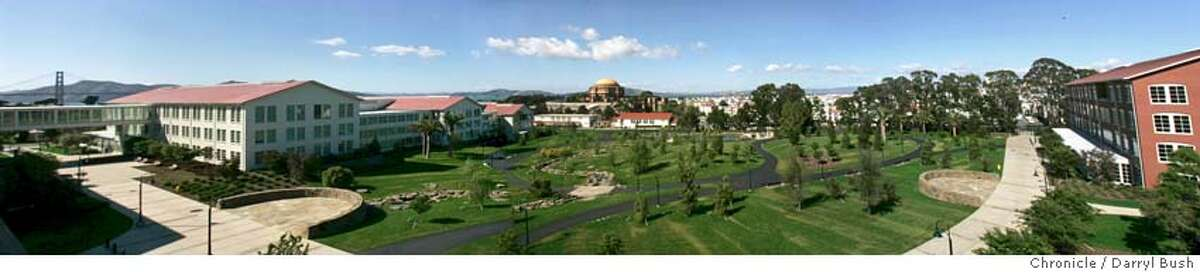 (NOTE: panoramic view created from multiple images merged together digitally) of George Lucas's new public park adjacent to the new Lucasfilm headquarters; the complex called,