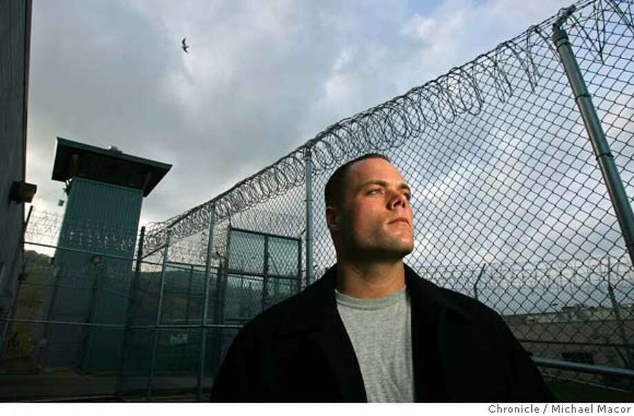 Mike outside the prison gates of California State Prison Solano where he spent 10 years of his life for his crimes. When he was 19, Mike Pendergast was sentenced to 14 years to life in prison after being involved in a Vallejo crime spree that included carjacking, kidnapping and armed robbery. But he became a model prisoner, using sports to help break down the racial barriers in the notoriously segregated prison yard. After getting paroled last year, the 31-year-old is the oldest freshman on the Solano Community College football team, playing defensive line while putting his violent past behind him.  12/7/04 Vacaville, CA Michael Macor / San Francisco Chronicle Photo: Michael Macor
