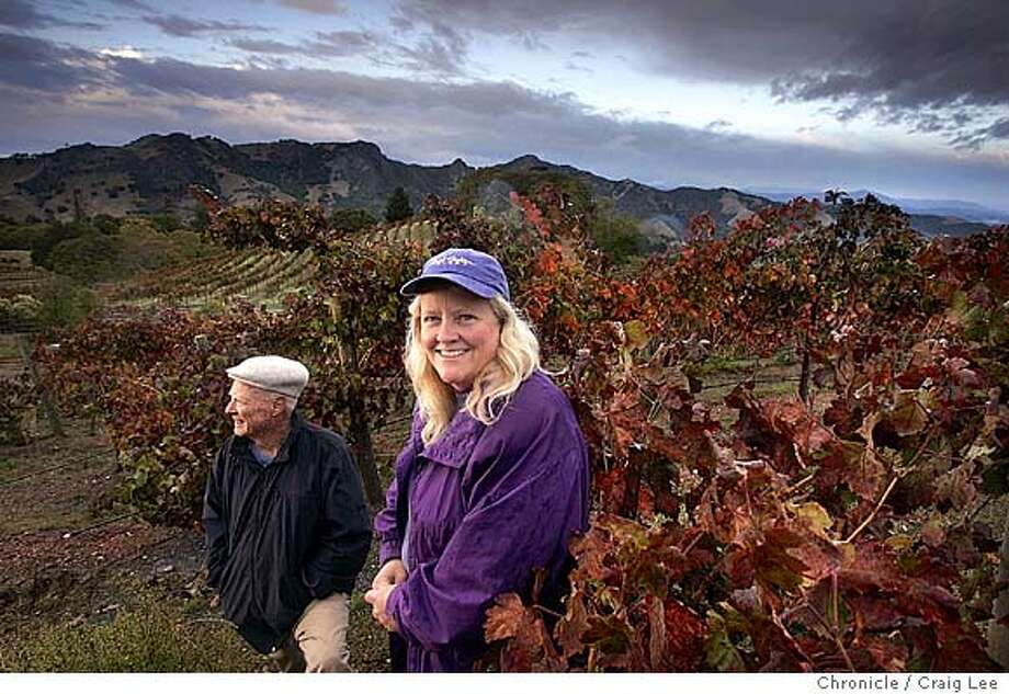 Rockpile American Viticultural Area north of Healdsburg, near Lake Sonoma. Carol Shelton, winemaker of Carol Shelton Wines in the Florence Ranch Vineyard. She is standing next to Jack Florence Sr. who owns the vineyard where Carol Shelton gets her grapes.  Event on 11/4/04 in Geyserville. Craig Lee / The Chronicle Photo: Craig Lee
