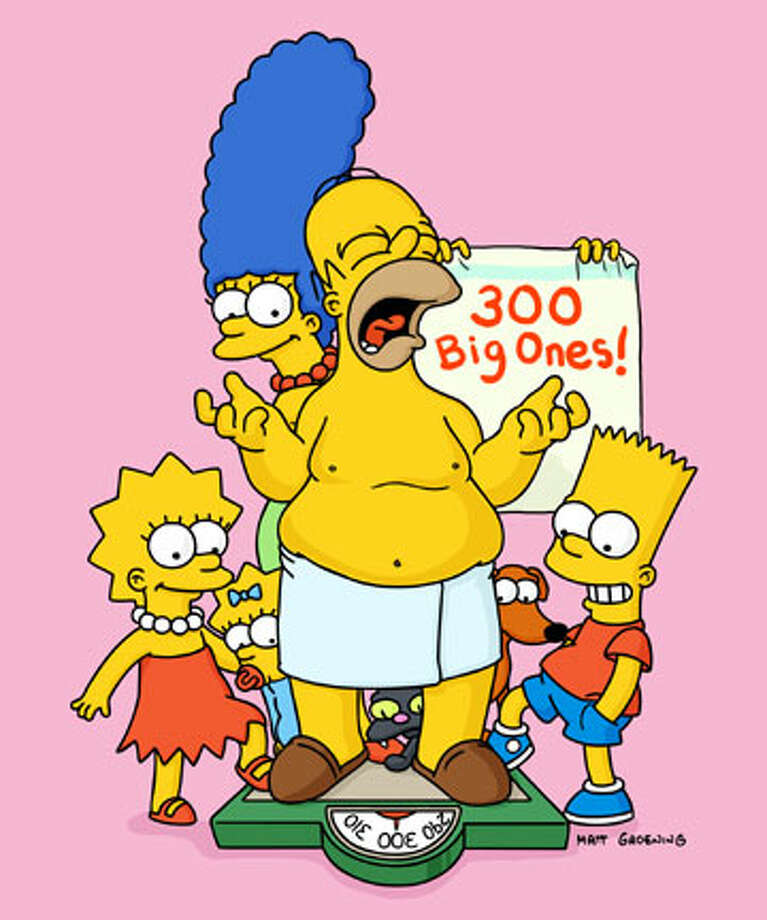 Members of the 14-year-old Simpson family -- from left, Lisa, Maggie, Marge, Homer and Bart -- have neither aged nor evolved over the years, though they have been drawn somewhat differently.
