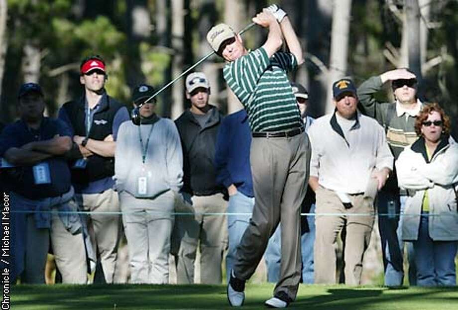 Davis love III with a strong finish today to go 10 under for the tournament. Love tees off on the 8th hole, at Spyglass Hill. 3rd round of the Pebble Beach Pro-Am Feb. 8,2003. by Michael Macor/The Chronicle Photo: MICHAEL MACOR