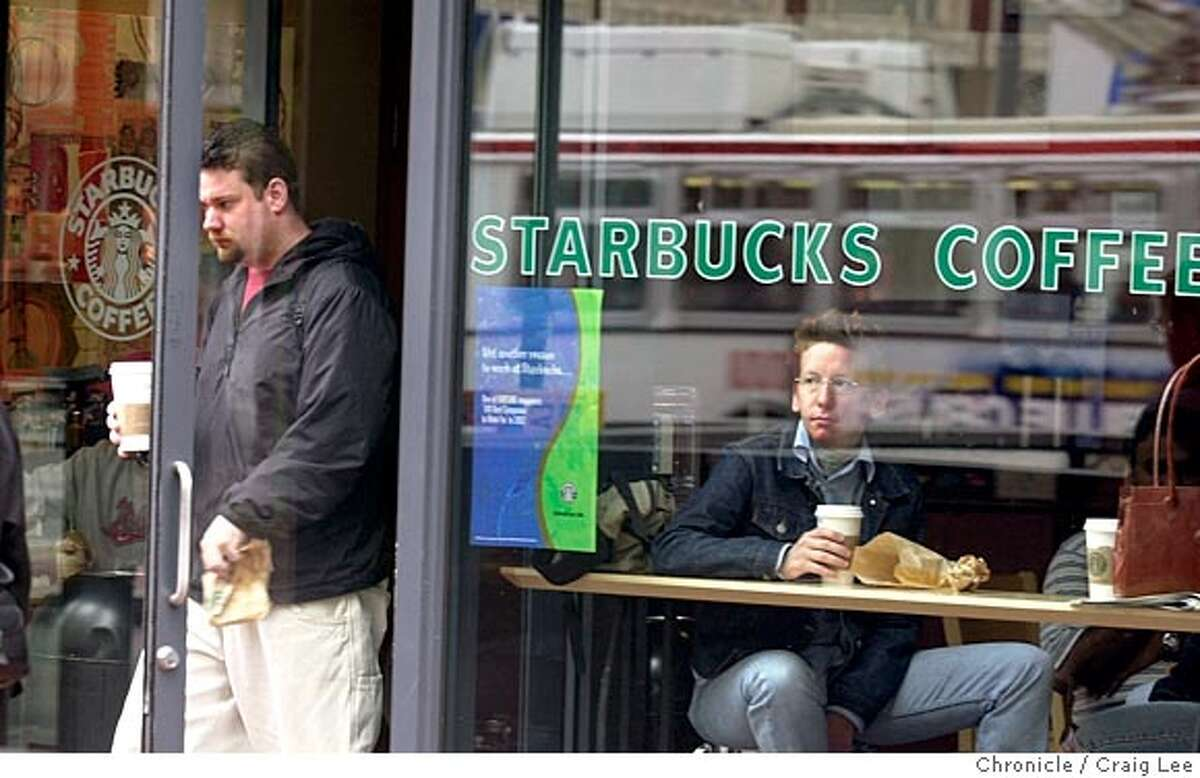 STARBUCKS-C-18JUL02-MT-CL Starbucks Coffee on Market Street near 4th Street. Story about bogus free Starbucks coupons that have been going over the internet. Photo by Craig Lee/San Francisco Chronicle CAT