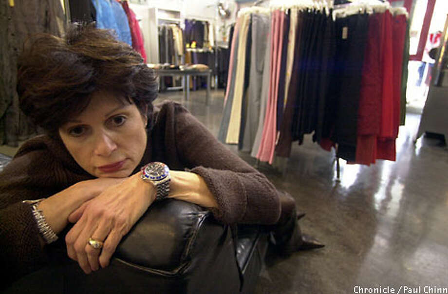 The slow economy is forcing Donna Bernard to shutter the North Beach fashion boutique she's owned for 18 years. Chronicle photo by Paul Chinn