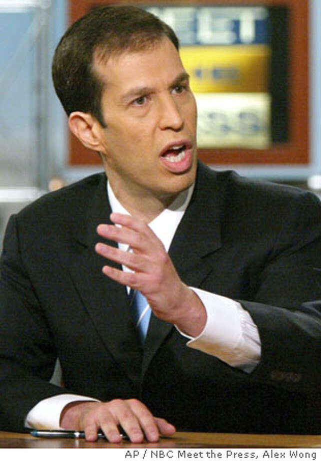 "Tad Devine, right, senior advisor of the Kerry-Edwards campaign, reacts as he debates Bush-Cheney campaign manager Ken Mehlman on NBC's ""Meet the Press"" in Washington Sunday, Aug. 22, 2004. Devine and Mehlman talked about the swiftboat advertisement controversy which centers on Sen. John Kerry's war record in Vietnam. (AP Photo/NBC Meet the Press, Alex Wong) ** MANDATORY CREDIT NO ARCHIVES ** Ran on: 09-05-2004 Ran on: 09-05-2004 Ran on: 09-05-2004 Photo: ALEX WONG"