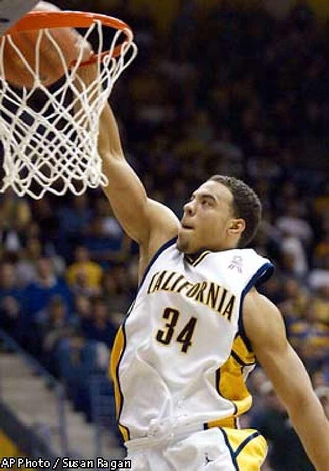 California's Joe Shipp dunks during the first half against UCLA Saturday, Jan. 25, 2003, in Berkeley, Calif. (AP Photo/Susan Ragan) Photo: SUSAN RAGAN