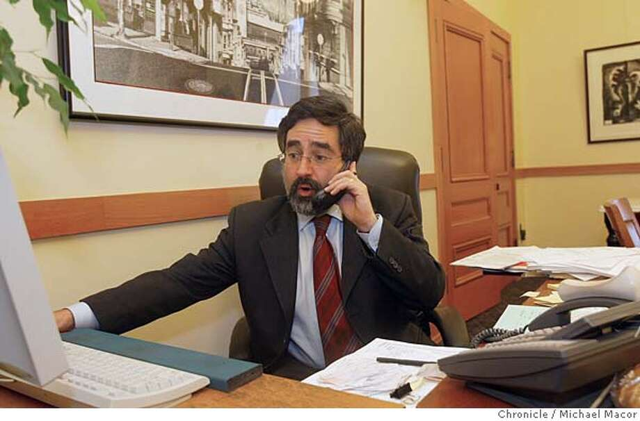 mayorgonzalez084_mac.jpg Supervisor Aaron Peskin back to his daily chore of returning phone calls from his City Hall office. Day after the election for Mayor of San Francisco against Gavin Newsome and Matt Gonzalez. 12/10/03 in San Francisco. Michael Macor/ The Chronicle MANDATORY CREDIT FOR PHOTOG AND SF CHRONICLE/ -MAGS OUT Photo: Michael Macor