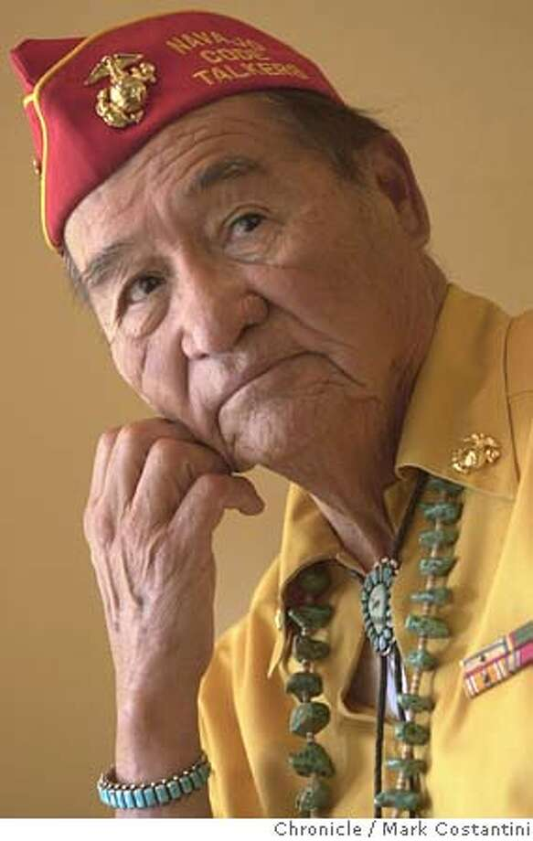CODE17_060.JPG Photo taken on 6/17/04 in ORINDA.  interview with sam billison, one of the original navajo code talkers from world war ii. ***a few years ago a movie came out about these guys. they're native americans used by the u.s. military to speak in their native tongue to pass information around. because the enemy couldn't break the code, these guys were known as code talkers. Photo: Mark Costantini/SF Chronicle Photo: MARK COSTANTINI
