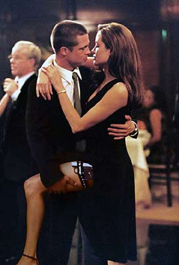 Yep, we bet there weren't acting in this scene from 'Mr. and Mrs. Smith.' Hmm...