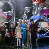 L-r: FREDDIE HIGHMORE, JORDAN FRY, DAVID KELLY, JULIA WINTER, JAMES FOX, MISSI PYLE, ADAM GODLEY and JOHNNY DEPP in Warner Bros. Pictures� fantasy adventure �Charlie and the Chocolate Factory.�  PHOTOGRAPHS TO BE USED SOLELY FOR ADVERTISING, PROMOTION, PUBLICITY OR REVIEWS OF THIS SPECIFIC MOTION PICTURE AND TO REMAIN THE PROPERTY OF THE STUDIO. NOT FOR SALE OR REDISTRIBUTION.