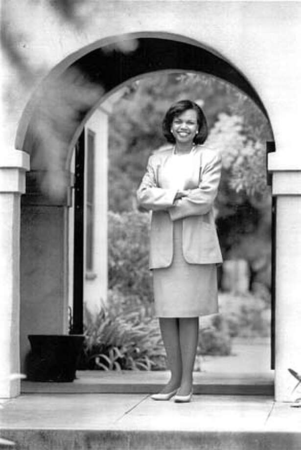 Condoleezza Rice, the new provost of Stanford University, outside present office in the Galvez House.