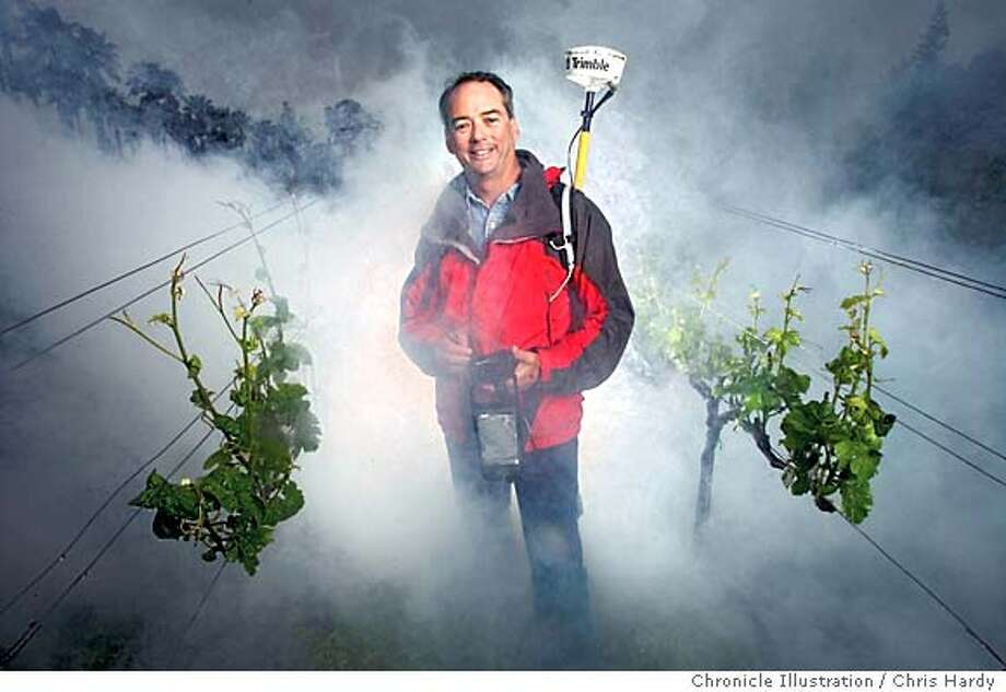 A puff of man-made fog engulfs Mike Bobbitt, who uses Global Positioning System equipment to find suitably chilly vineyard land in the Green Valley appellation of western Sonoma County. Chronicle photo illustration by Chris Hardy