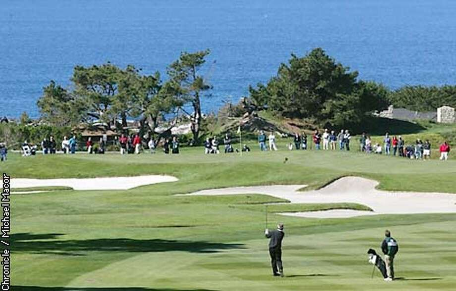Spyglass Hill the toughest course of the three played during the Pebble Beach Pro-Am# 1 hole the green surrounded by bunkers on the approach. 3rd round of the Pebble Beach Pro-Am Feb. 8,2003. by Michael Macor/The Chronicle Photo: MICHAEL MACOR