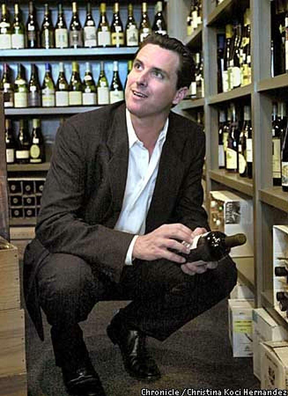 CHRISTINA KOCI HERNANDEZ/CHRONICLE Gavin Newsom at Plumpjack Wines in Noe Valley.