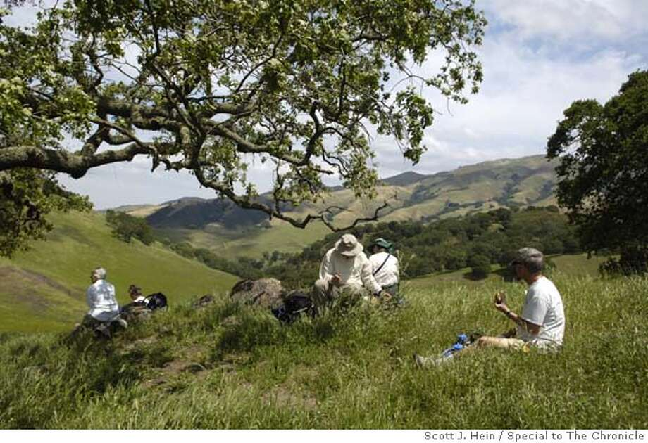 Lunch near Pine Ridge, Day 1 Four Days Diablo, Save Mount Diablo's trip on the 30 mile Diablo Trail. Photo by Scott J. Hein/Special to The Chronicle Photo: Scott J. Hein/Special To The Chr