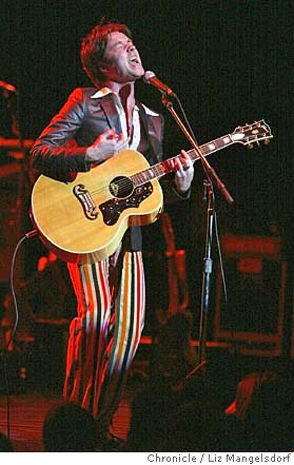 46FB0090.JPG Rufus Wainwright performs at the Warfield.  Event on 12/19/03 in San Francisco.  LIZ MANGELSDORF / The Chronicle Singer-songwriter Rufus Wainwright is wrapping up a tour and says he'll be glad to &quo;have a breakdown for a few days, become a vegetable and stare at the ceiling.&quo; He will return to his old schedule soon enough, however, including shows at the Fillmore Auditorium in March. ALSO RAN 1/09/2004 MANDATORY CREDIT FOR PHOTOG AND SF CHRONICLE/ -MAGS OUT Datebook#Datebook#SundayDateBook#11-14-2004#ALL#Advance##0421537491 Photo: LIZ MANGELSDORF