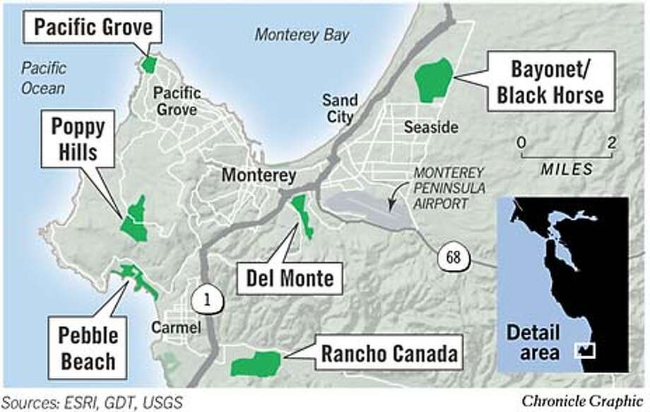 Monterey Peninsula Golf Courses. Chronicle Graphic