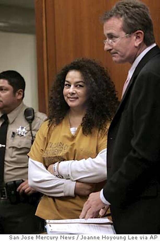 Anna Ayala looks towards her family members and friends while being arraigned inside the courtroom at the Santa Clara County Superior Court in San Jose, Calif. on Monday, May 9, 2005. Ayala, accused of fabricating a story about finding a finger in a bowl of Wendy's chili, faces a maximum seven-year sentence if convicted of attempted grand larceny charge in the Wendy's case, and at least another 16 months if convicted of the unrelated grand larceny charge.(AAP Photo/San Jose Mercury news, Joanne HoyoungLee)