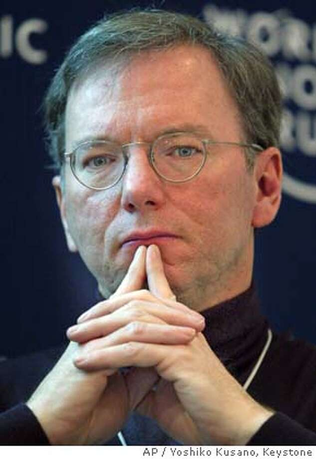 Eric Schmidt, CEO of Google, USA, participates in a panel session at the Annual Meeting of the World Economic Forum in Davos, Switzerland, Friday, Jan. 23, 2004. (AP Photo/ Keystone, Yoshiko Kusano) Ran on: 12-02-2004  Eric Schmidt, Google's chief executive, is pleased with the IPO's run-up. Ran on: 04-09-2005  The painted ladies are on a journey north to Canada. Ran on: 04-09-2005  The painted ladies are on a journey north to Canada. Photo: YOSHIKO KUSANO