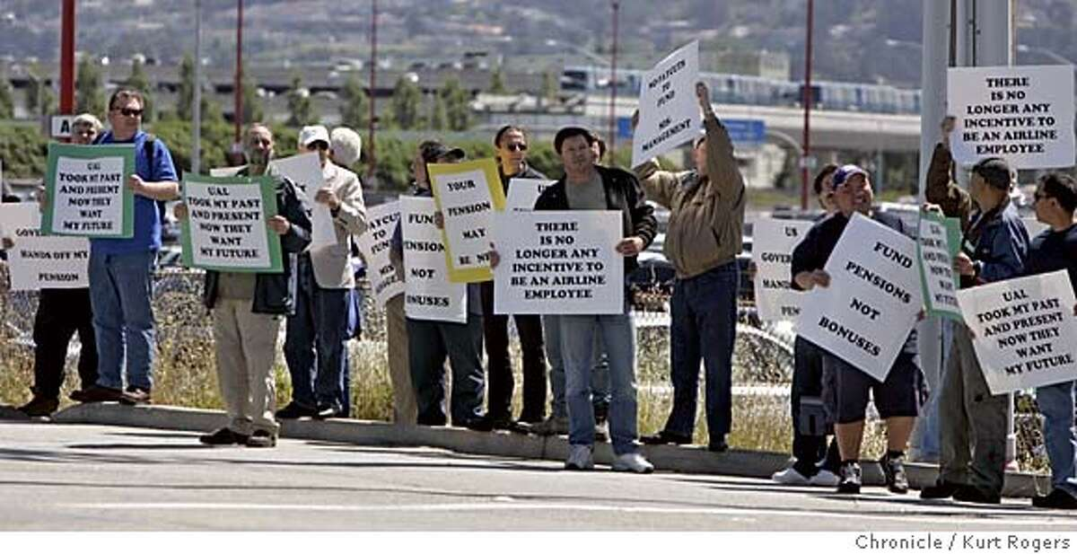United Airlines employees held a demonstration in front of the maintenance facility at the San Francisco airport. United Airlines has asked a bankruptcy judge to make changes in the company's pension plan that could cut payments to people who retire from the company. The judge may reach a decision today. 5/10/05 in San Francisco,CA. KURT ROGERS/THE CHRONICLE