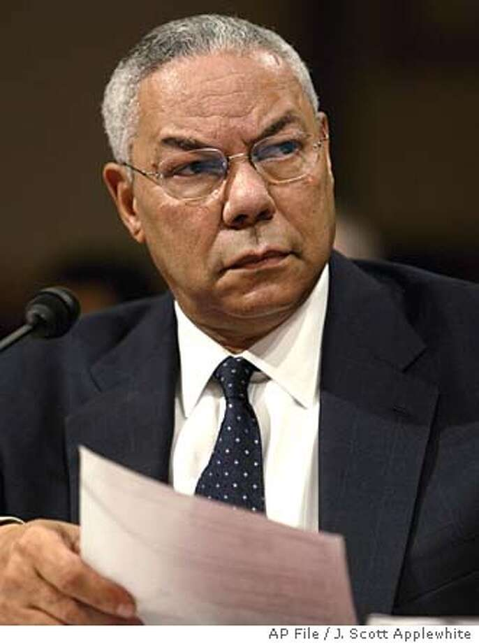 ** FILE ** Secretary of State Colin Powell testifies before the Senate Foreign Relations Committee on Capitol Hill in this Sept. 9, 2004 file photo. Powell has told top aides he plan to resign from President Bush's Cabinet, senior State Deparment officials said Monday, Nov. 15, 2004. (AP Photo/J. Scott Applewhite, Files) Photo: J. SCOTT APPLEWHITE