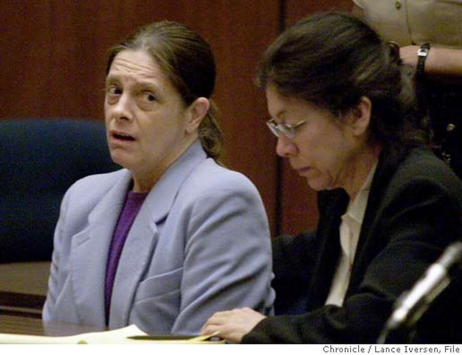 ** FILE ** Marjorie Knoller, left, reacts as a guilty verdict is read in a courtroom in Los Angeles, Thursday, March 21, 2002. At right is Knoller's attorney Nedra Ruiz. A state appeals court on Thursday, May 5, 2005, reinstated the second-degree murder conviction of Knoller whose giant dogs mauled and killed a neighbor in the hallway of an apartment building. (AP Photo/Lance Iversen, Pool) POOL PHOTO Photo: LANCE IVERSEN