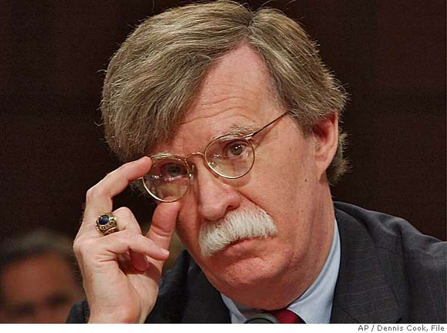 ** FILE ** John Bolton appears before the Senate Foreign Relations Committee on Capitol Hill in this April 11, 2005 file photo, on his nomination to be ambassador to the United Nations. (AP Photo/Dennis Cook, File) APRIL 11, 2005 FILE PHOTO Photo: DENNIS COOK