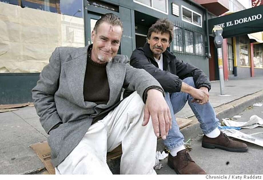 SFSHOOT10012_RAD.JPG Two homeless men in San Francisco foiled a crime early this morning. Their names are Owen Spaulding (FOREGROUND, less hair) and Gregg (cq) Wozniak. We photograph them at the scene of the crime: 154 9th St., the sidewalk in front of the Conard House, which distributes checks to homeless people. Joe Garofoli is the reporter for metro. Photo taken on 5/9/05, in SAN FRANCISCO, CA.  By Katy Raddatz / The San Francisco Chronicle MANDATORY CREDIT FOR PHOTOG AND SF CHRONICLE/ -MAGS OUT Photo: Katy Raddatz