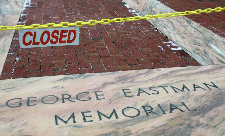 In this Jan. 5, 2012 photo, the George Eastman Memorial, where Eastman's ashes rest in an urn beneath the central stone, is shown with a closed sign in Rochester, N.Y. The glory days when Eastman Kodak Co. ruled the world of film photography lasted for over a century. Photo: David Duprey, AP / AP