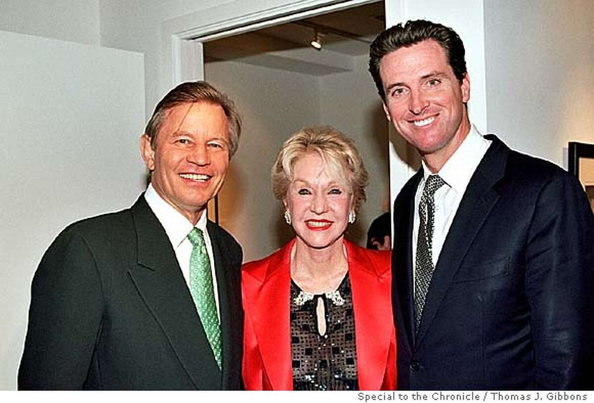 (ltoRight): Michael York, his wife Pat York and Mayor Gavin Newsom at her opening at the Sorokko Gallery. Living#Living#Chronicle#11/14/2004#ALL#Advance#M8#0422458809