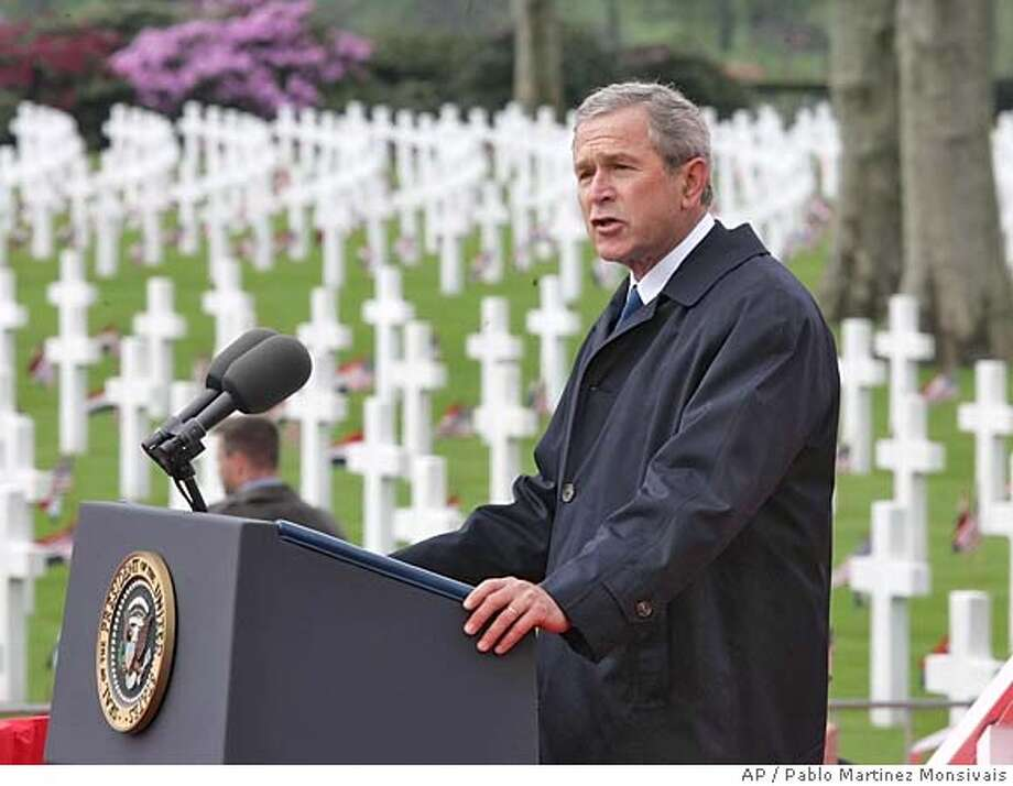 U.S. President George W. Bush speaks during ceremonies at Margraten American Cemetery Sunday, May 8, 2005 in Margraten, Netherlands.(AP Photo/Pablo Martinez Monsivais) Photo: PABLO MARTINEZ MONSIVAIS