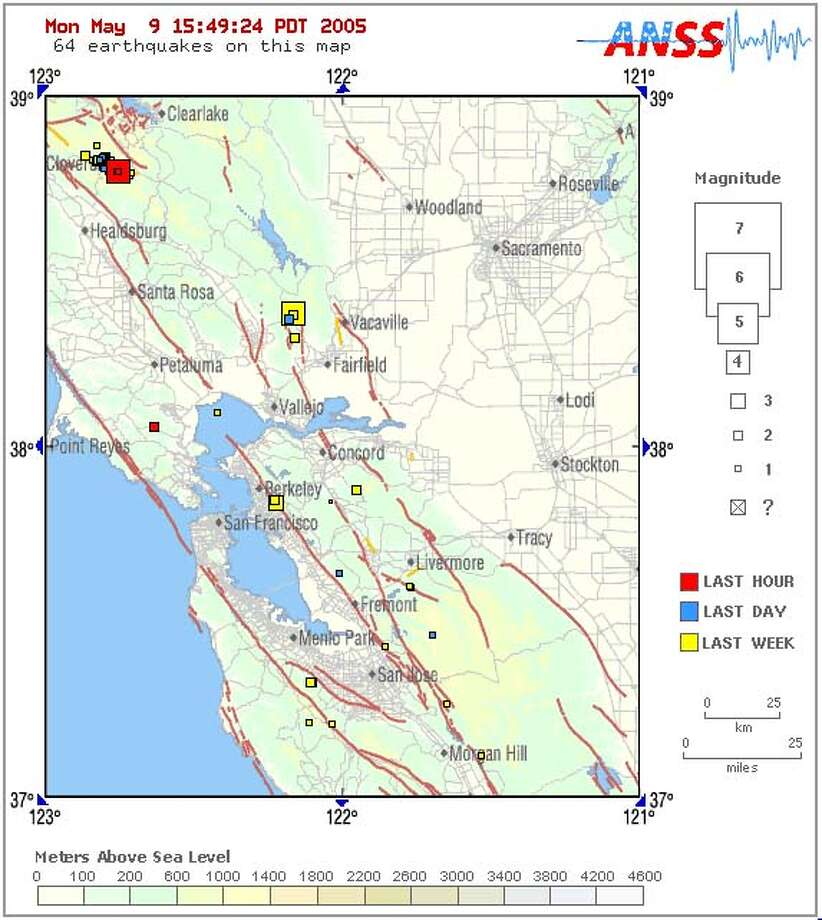 A light earthquake occurred at 22:37:39 (UTC) on Monday, May 9, 2005. The magnitude 4.4 event has been located in NORTHERN CALIFORNIA. The hypocentral depth was estimated to be 1 km ( 1 mile). (This is a computer-generated message -- this event has not yet been reviewed by a seismologist.)