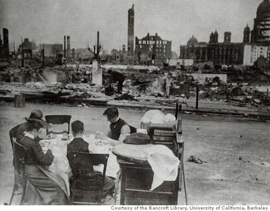 A family dining al fresco in sight of the ruined san Francisco City Hall with belongings rescued from their home after the 1906 earthquake and fire. Photo courtesy of the Bancroft Library, University of California, Berkeley BookReview#BookReview#Chronicle#05-08-2005#ALL#2star#b6#0422873399