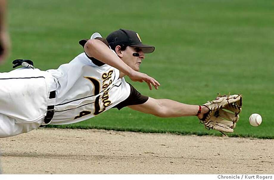 St.Francis High's Jared Lansford son of former major leaguer Carney Lansford dives for a ball in the second inning . He did not come up with the ball .  High school Baseball Mitty At St Francis . 5/3/05 in Mountan View,CA.  KURT ROGERS/THE CHRONICLE Photo: KURT ROGERS