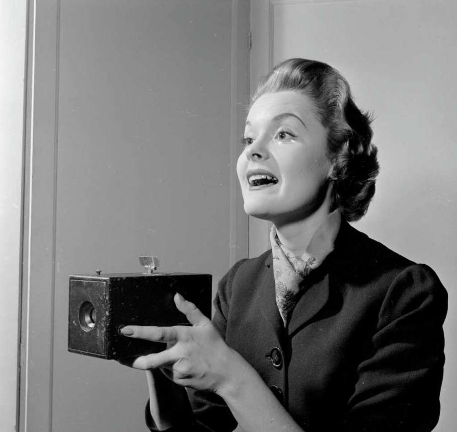 circa 1950:  An early Kodak box camera on display at the New York Historical Society's exhibition of 'Firsts'. Photo: Three Lions, Getty Images / Hulton Archive