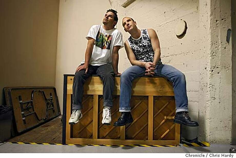 wells_ch_111.jpg  Two choreographers, Scott Wells and Stephen Pelton(Pelton with shaved head, Wells with longer hair), whose works are performing at the San Francisco Arts Festival. in San Francisco  4/24/05 Chris Hardy / San Francisco Chronicle Photo: Chris Hardy