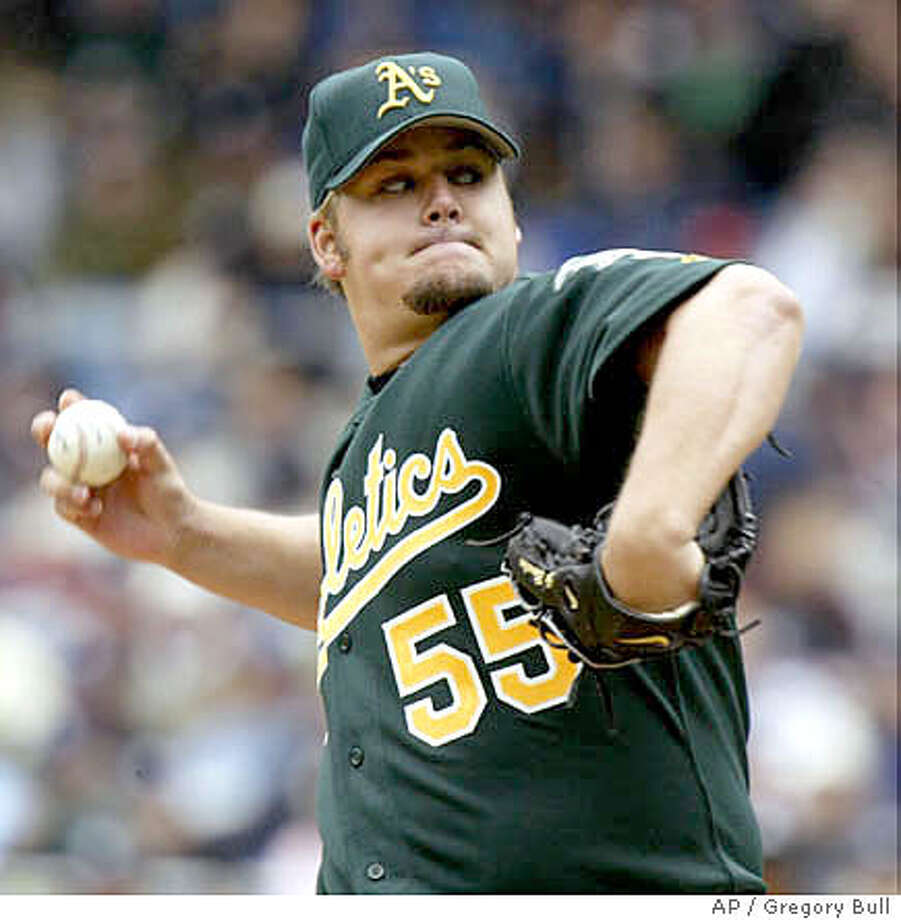 Oakland Athletics pitcher Joe Blanton throws in the first inning against the New York Yankees at Yankee Stadium in New York Saturday, May 7, 2005. (AP Photo/Gregory Bull) Photo: GREGORY BULL