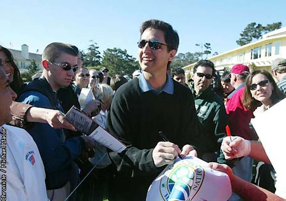 Actor Ray Romano signs autographs as he makes his way to the 1st tee for the challenge. 3M Celebrity Challenge took place today at Pebble Beach Golf lInks. by Michael Macor/The Chronicle Photo: MICHAEL MACOR