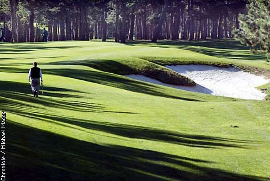 A stroll down #1 at Poppy Hills. Monterey Peninsula golf coures that are reasonably affordable, compared to the likes of Pebble Beach, Spyglass and Spanish Bay. by Michael Macor/The Chronicle Photo: MICHAEL MACOR