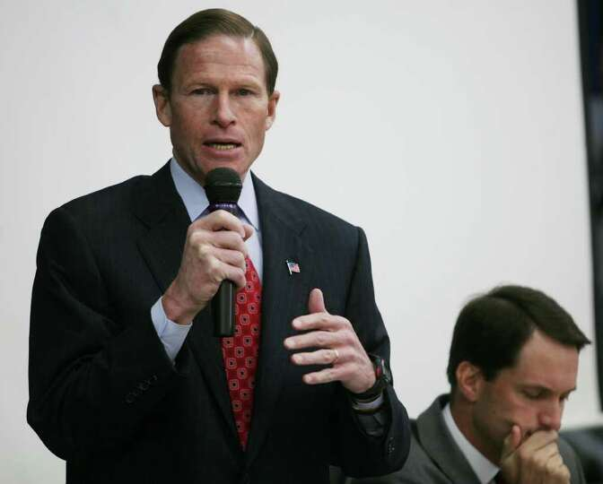 Senator Richard Blumenthal addresses concerned seniors during a public hearing on the planned clo