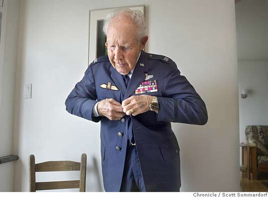 vet_001_ss.jpg  Retired Air Force colonel George Brandt puts on his old uniform. He is attempting to get the Air Force to give him the Distinguished Flying Cross medal that was promised to him for a courageous landing of his B-17 bomber during WW2, but apparently the paperwork was lost in the system. His daughter Kathy Reed of S.F. is helping him in his quest for the DFC.  City:� SF, CA San Francisco on 5/24/04 by SCOTT SOMMERDORF / The Chronicle Col. George Brandt Col. George Brandt Col. George Brandt Col. George Brandt MANDATORY CREDIT FOR PHOTOG AND SF CHRONICLE/ -MAGS OUT Photo: SCOTT SOMMERDORF