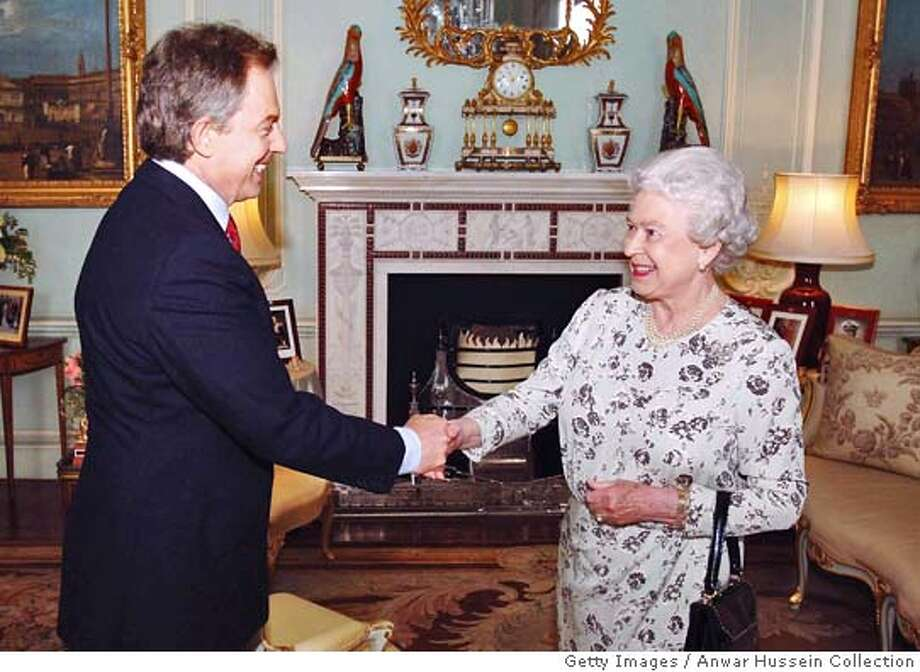 LONDON - MAY 6: (NO UK SALES FOR 28 DAYS) Newly re-elected Prime Minister Tony Blair shakes hands with Queen Elizabeth II during an engagement at Buckingham Palace May 6, 2005 in London. Blair was visiting the Queen to ask her permission to form a new government after the Labour party won a historic third term in office. (Photo by ROTA/Anwar Hussein Collection/Getty Images) *** Local Caption *** Tony Blair;Queen Elizabeth II Photo: Getty Images