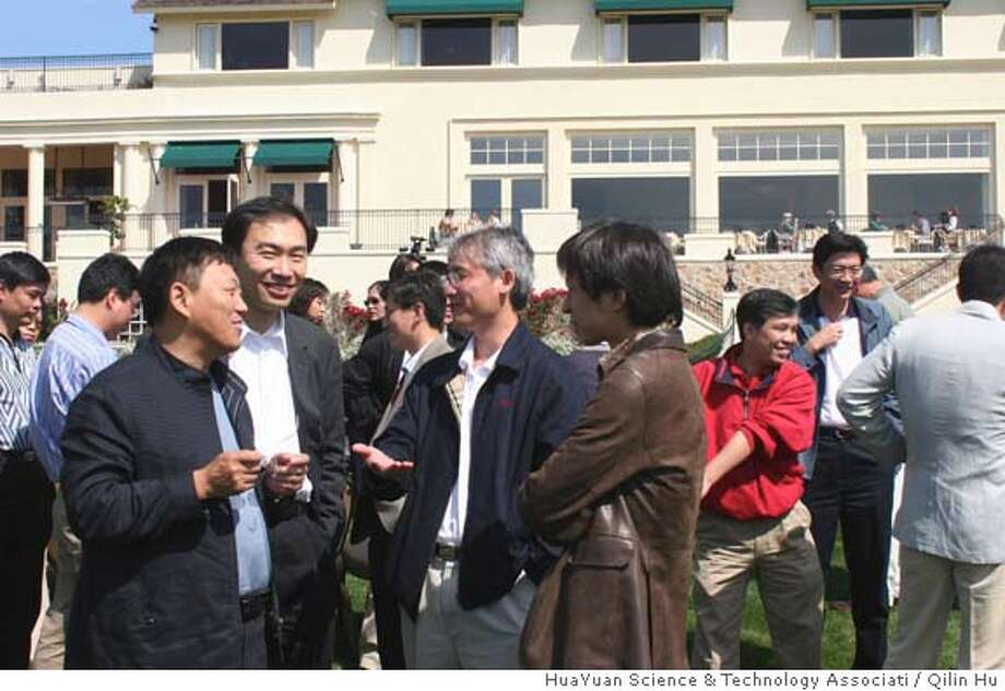 Prominent Chinese business executives share a light moment before tee-off at Pebble Beach, CA. From left to right: Wei Guo, CEO of Digital China & Co-Founder of Lenovo (formerly Legend), Feng Deng, President of HYSTA and Co-Founder of NetScreen Technologies (bought by Juniper Networks), Liu Er-Fei, Chairman of Merrill Lynch China, Charles Zhang, CEO of Sohu.com. Photo by Qilin Hu, HuaYuan Science & Technology Associati Photo: Qilin Hu, HuaYuan Science & Tech