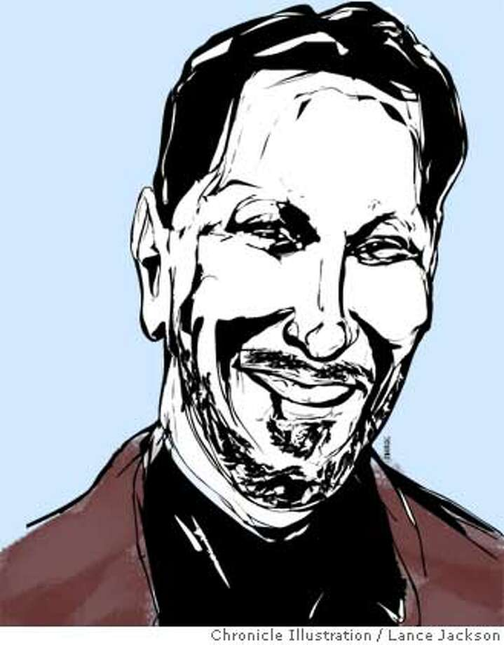 """The events of last year are characteristic of what made Larry Ellison and Oracle a very good representation of what Silicon Valley is... that willingness to stick your neck out and go against the grain to create something."" -- Tad Piper, analyst, Piper Jaffray & Co. Chronicle Illustration by Lance Jackson"